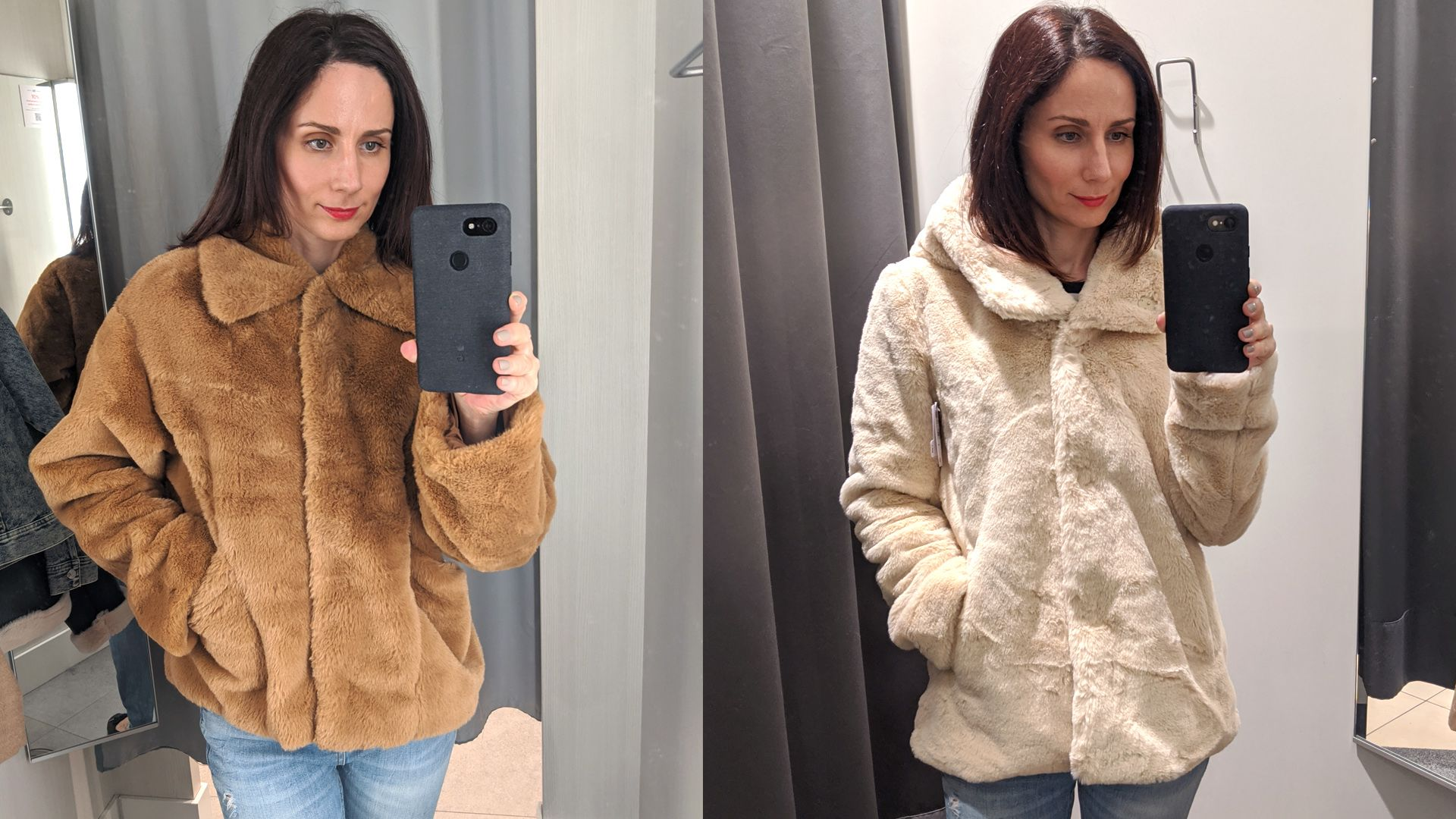 Műszőrme kabátok: H&M - C&A