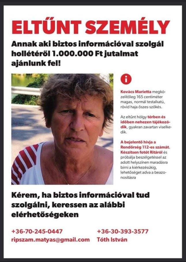 Eltűnt Alzheimer kóros asszony