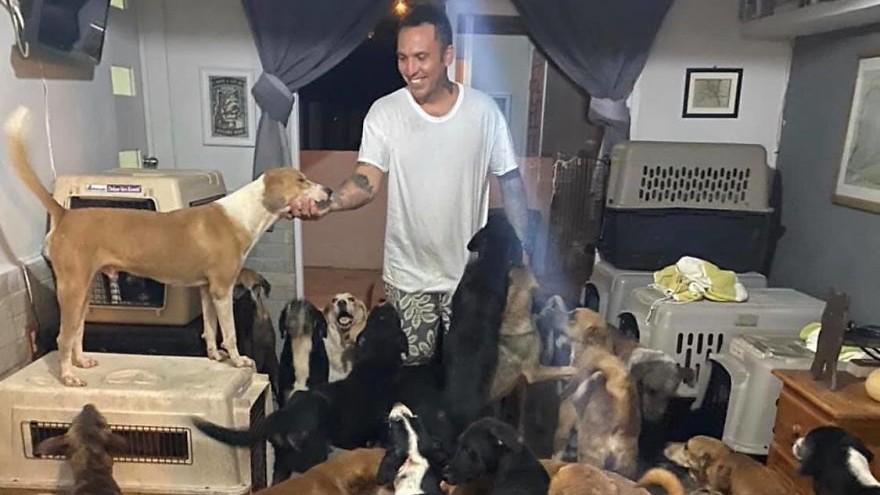 300 kutyát fogadott a házába a hurrikán elől.