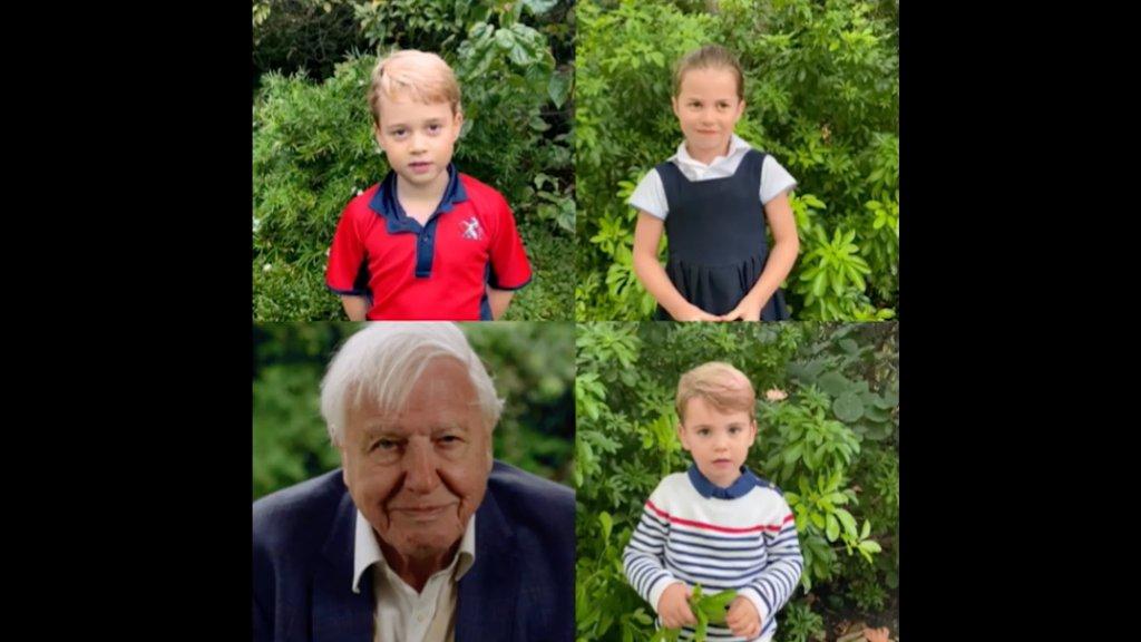 Videón, ahogy Vilmos és Katalin cuki gyerekei faggatják David Attenborough-t