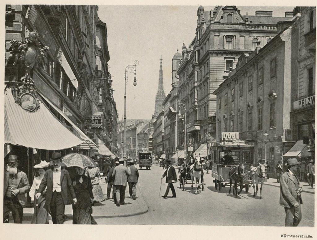 Bécsi utcakép a századfordulón (fotó: Wikipedia)