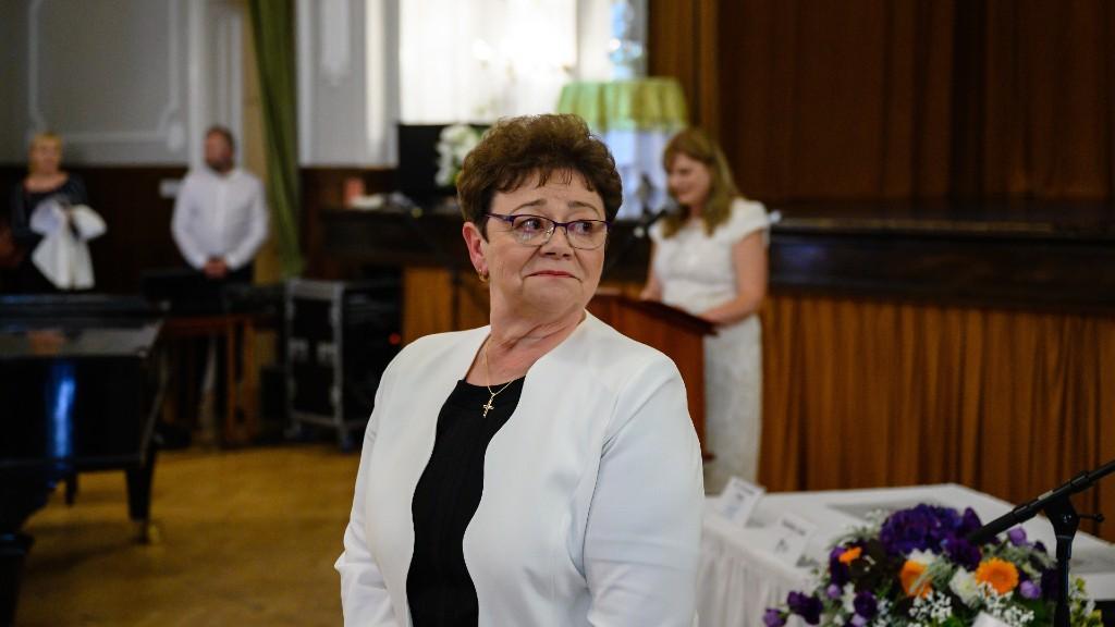 Müller Cecília a Szent István-díj kitüntetettjeként Székesfehérváron (fotó: MTI/Vasvári Tamás)