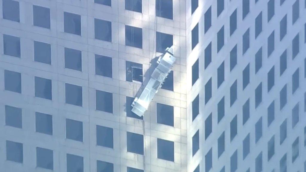 Leszakadt állvány egy manhatteni felhőkarcolón