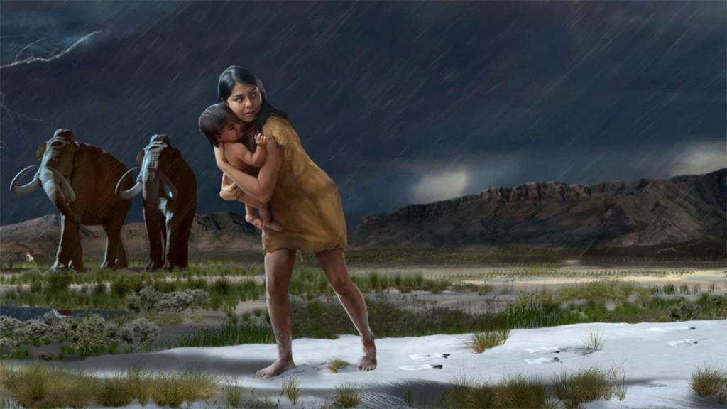 Tízezer éves anya lábnyomait fedezték fel