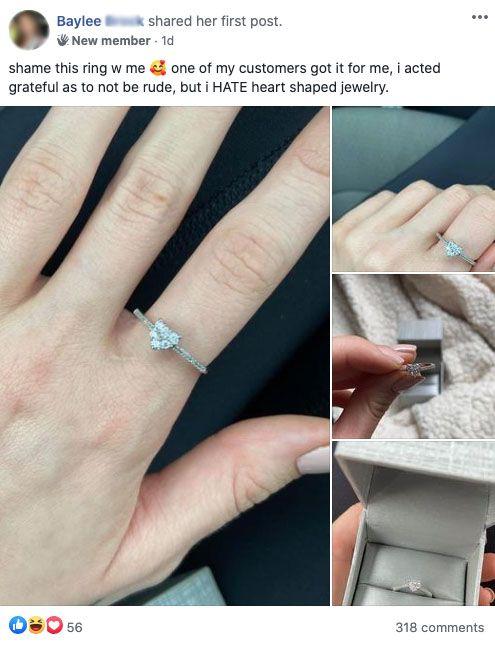 A nőnek nagyon nem tetszett az ajándékba kapott gyűrű