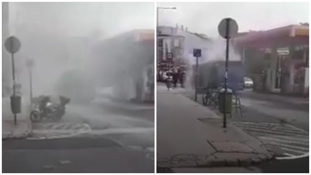 Videó: benzinkút mellett égett ki egy BKV-busz