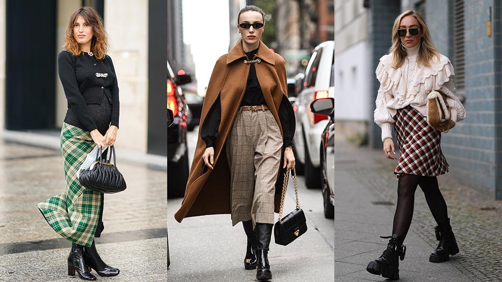 Street style - Kockás szoknyák, nadrágok