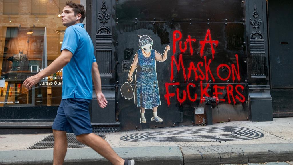 Koronavírusos street art New Yorkban