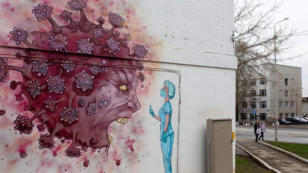 Koronavírusos street art Oroszországban