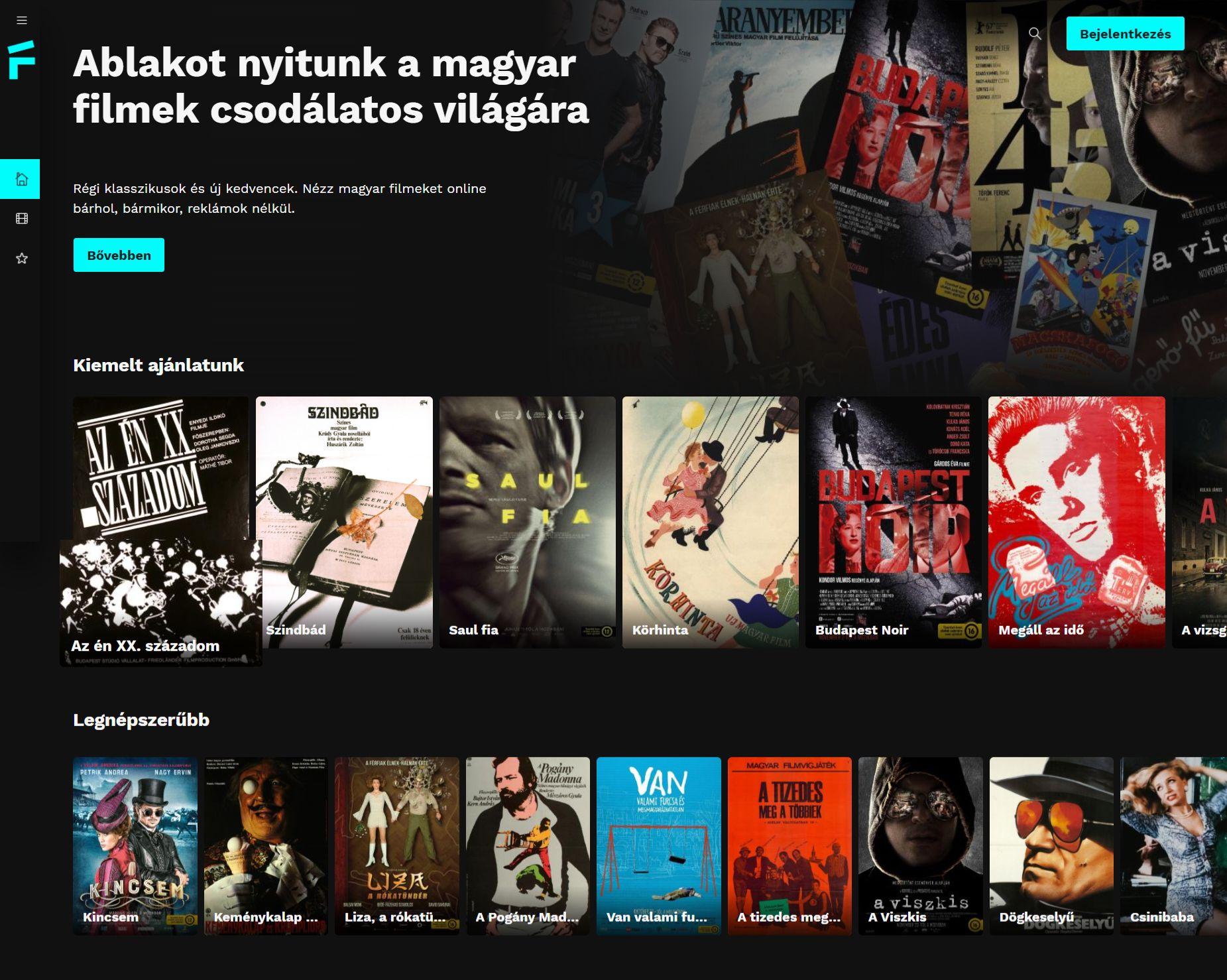 A FILMIO felhasználói felülete