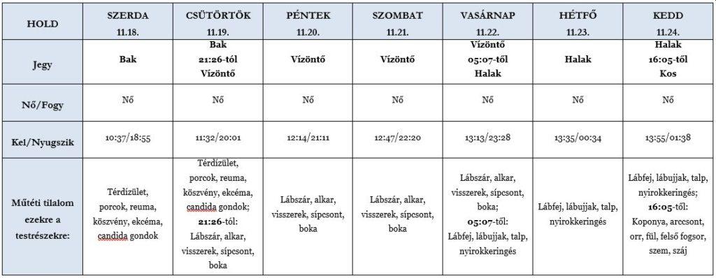 Heti holdhoroszkóp táblázat 2020. 11. 18–24.