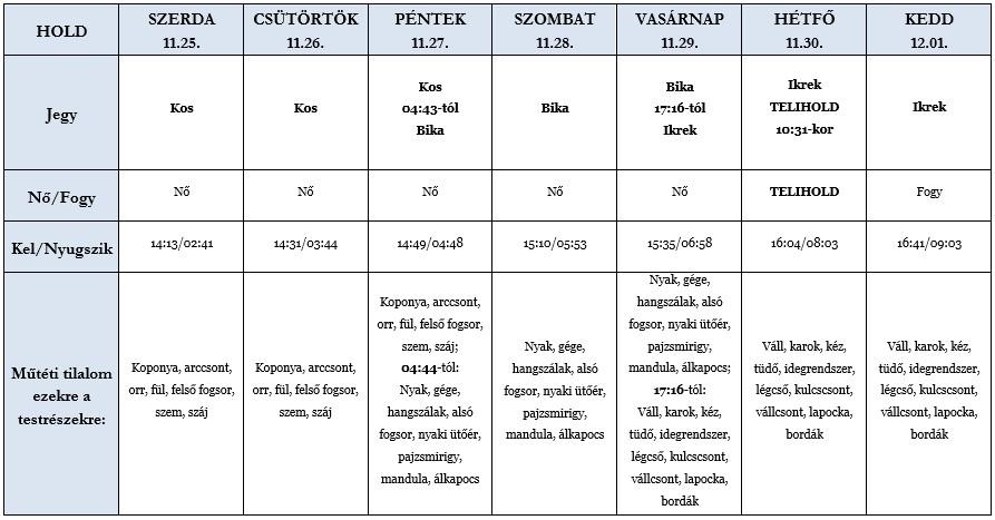 Heti holdhoroszkóp táblázat 2020. 11. 25–12. 01.