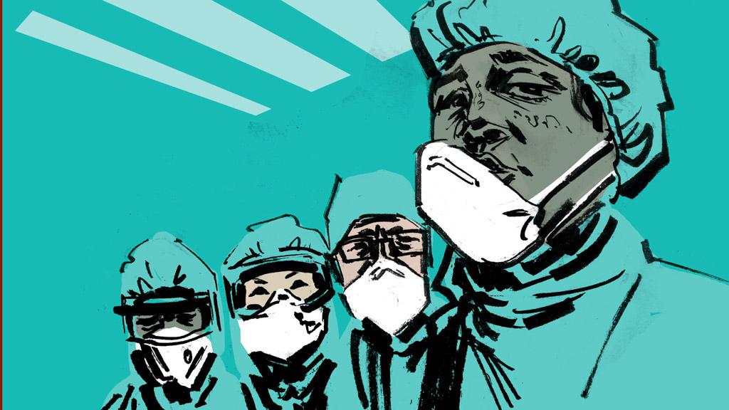 rajzolt orvosok maszkban
