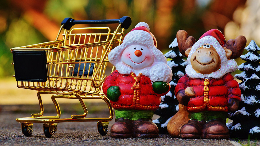 állatmikulások üres bevásárló kocsi előtt mosolyognak
