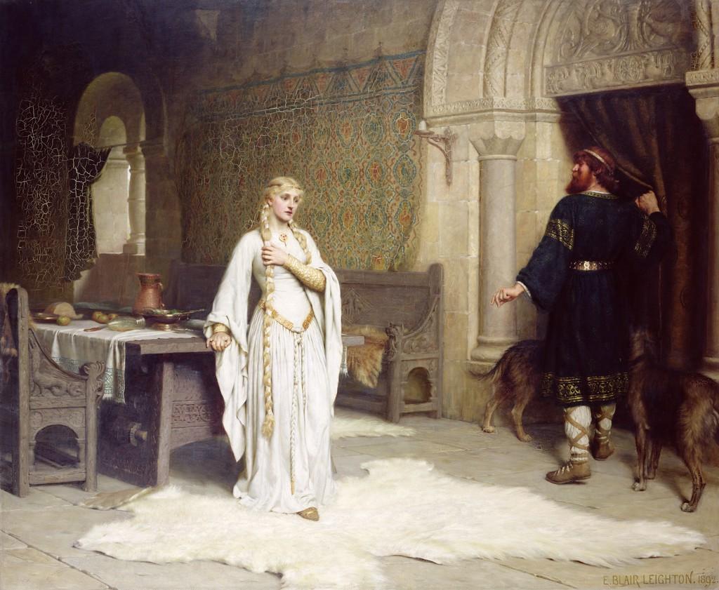 A nagy meztelenkedés előtti pillanatok Edmund Leighton festményén (forrás: Wikipedia)
