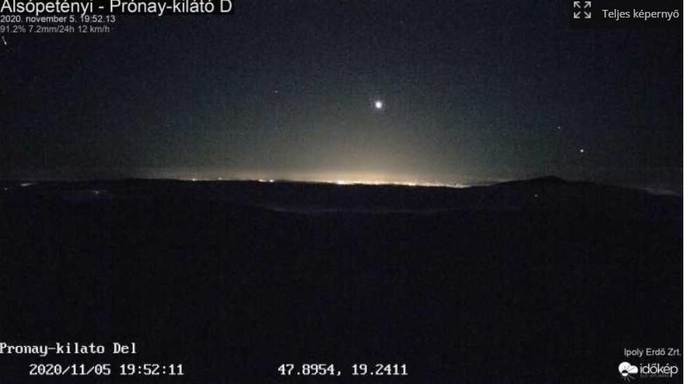 Tűzgömb az égbolton (fotó: időkép)