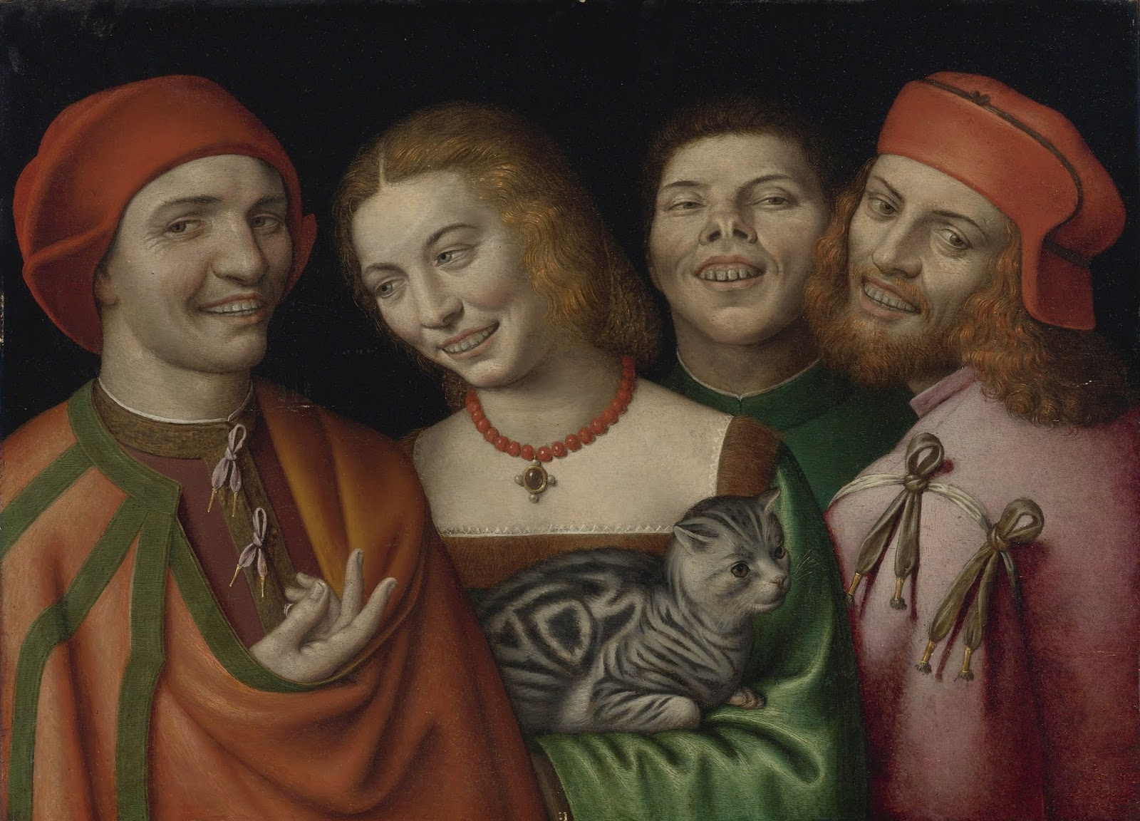 Csúnya, nevető emberek macskával, Gian Paolo Lomazzo festményén (forrás: Wikipedia)