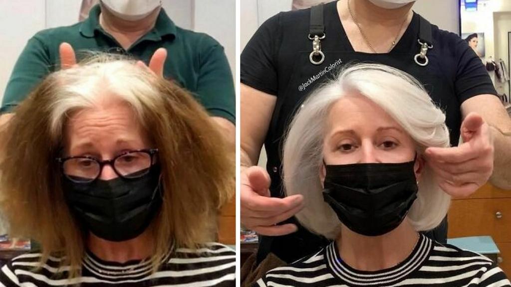 Megszeretetti a nőkkel ősz hajukat a fodrász