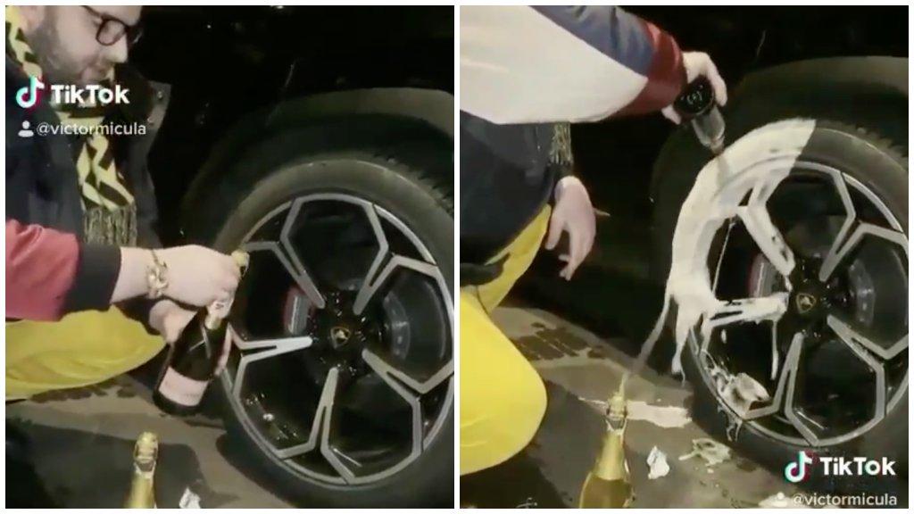 Pezsgővel mosta le az autója kerekét