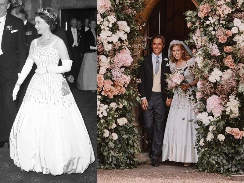 II. Erzsébet az Arábiai Lawrence premierjén és unokája, Beatrix az esküvőjén