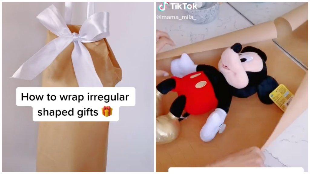 Szabálytalan alakú ajándék csomagolása