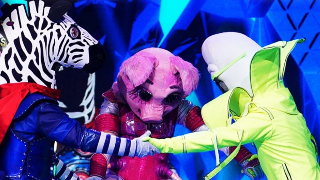 Az Álarcos énekes döntősei: a Zebra, a Röfi és a Banán