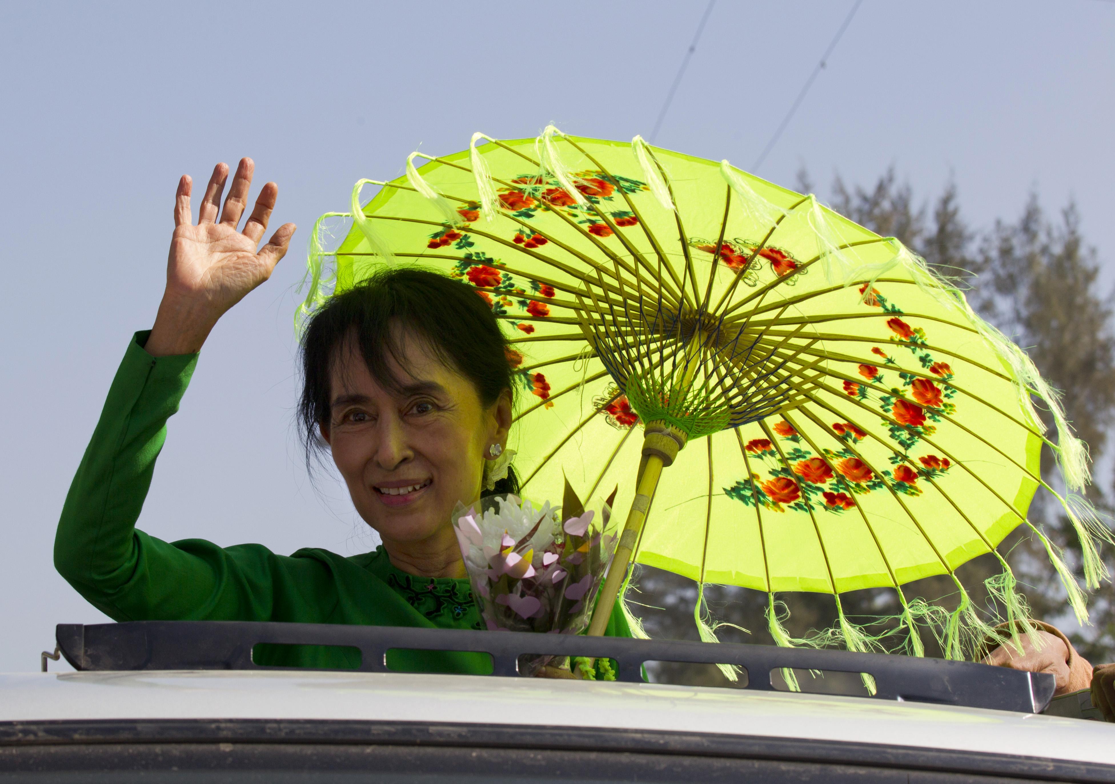 Aun Szan Szu Kji 2012-ben (fotó: Paula Bronstein/Getty Images)