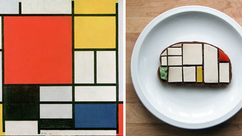 Piet Mondrian képe vásznon és vajaskenyéren