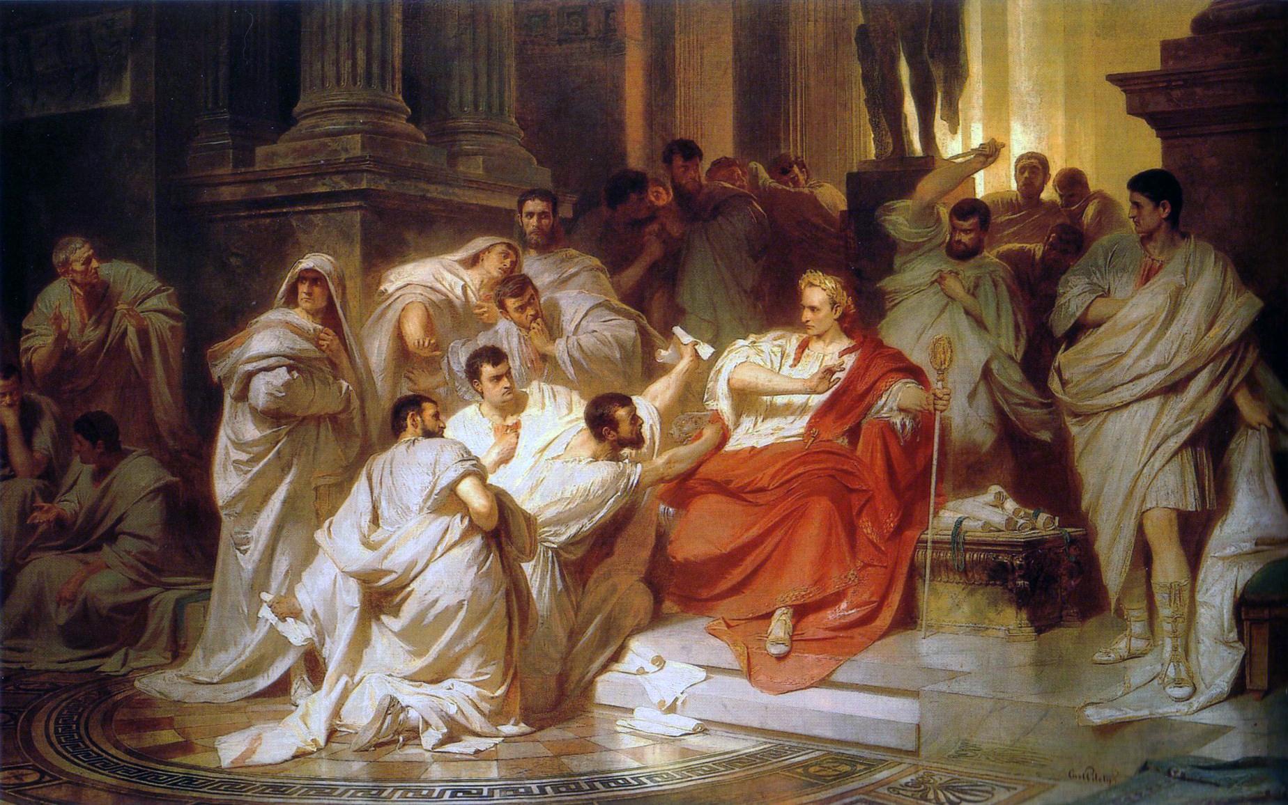 Gaius Julius Caesar, a diktátorok ősatyja, a meggyilkolása előtti pillanatokban Karl von Piloty festményén (forrás: Wikipedia)