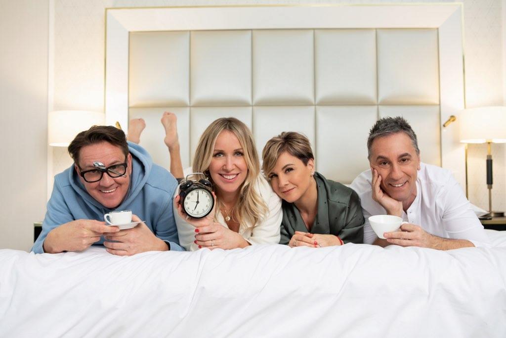 Az új reggeli műsor, az Ébredj velünk! műsorvezetői: Hajdu steve, Holdampf Linda, Ábel Anita és Csonka András (Fotó: Life TV)