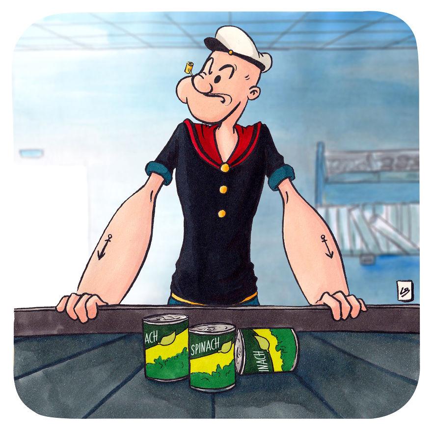 Popeye a spenóttól lesz erős (Kép: Linda Bouderbala)