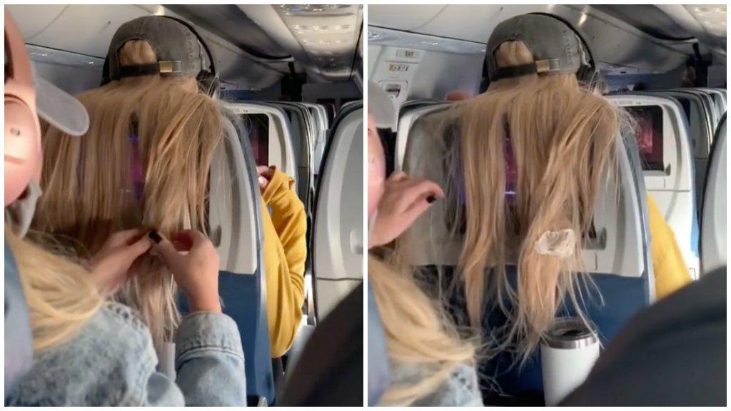 Rágógumit ragasztott az utas hajába
