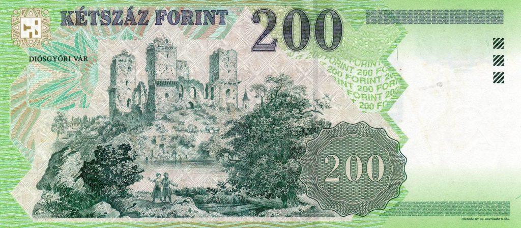 Diósgyőri vár papír 200 forintoson