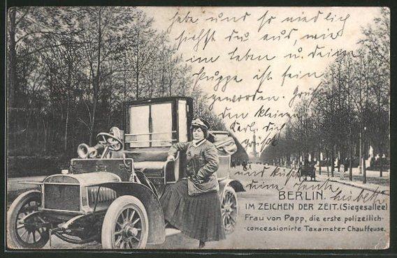 A kocsija mellett pózoló Pappné (fotó: oldthing.ch)