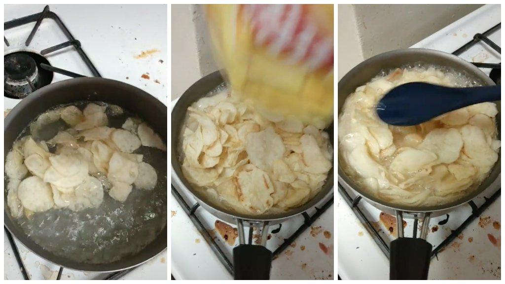 Krumplipüré chipsből