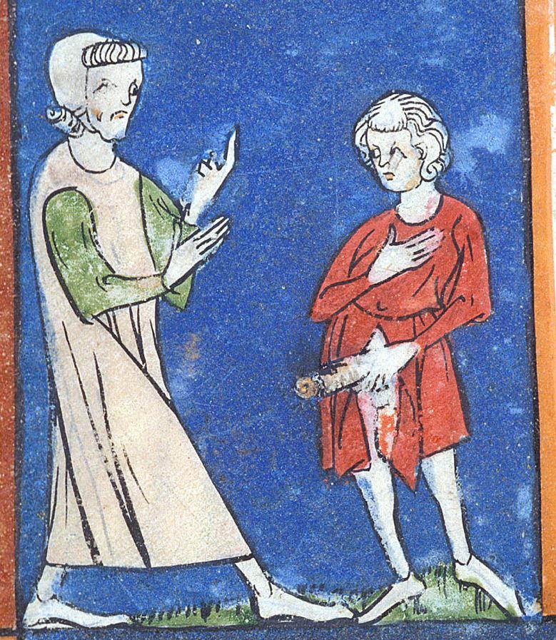 Középkori péniszmutogatás (mondjuk a képen látható úrnak nem impotenciája, hanem valószínűleg szifilisze van)