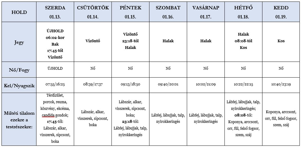 Heti holdhoroszkóp táblázat 2021. 01. 13-19.