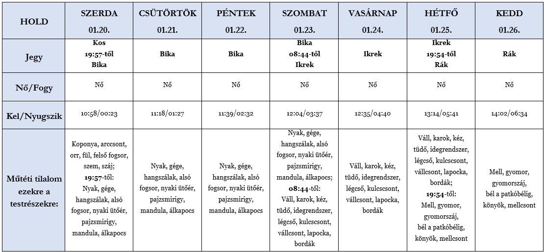 Heti holdhoroszkóp táblázat 2021. 01. 20-26.