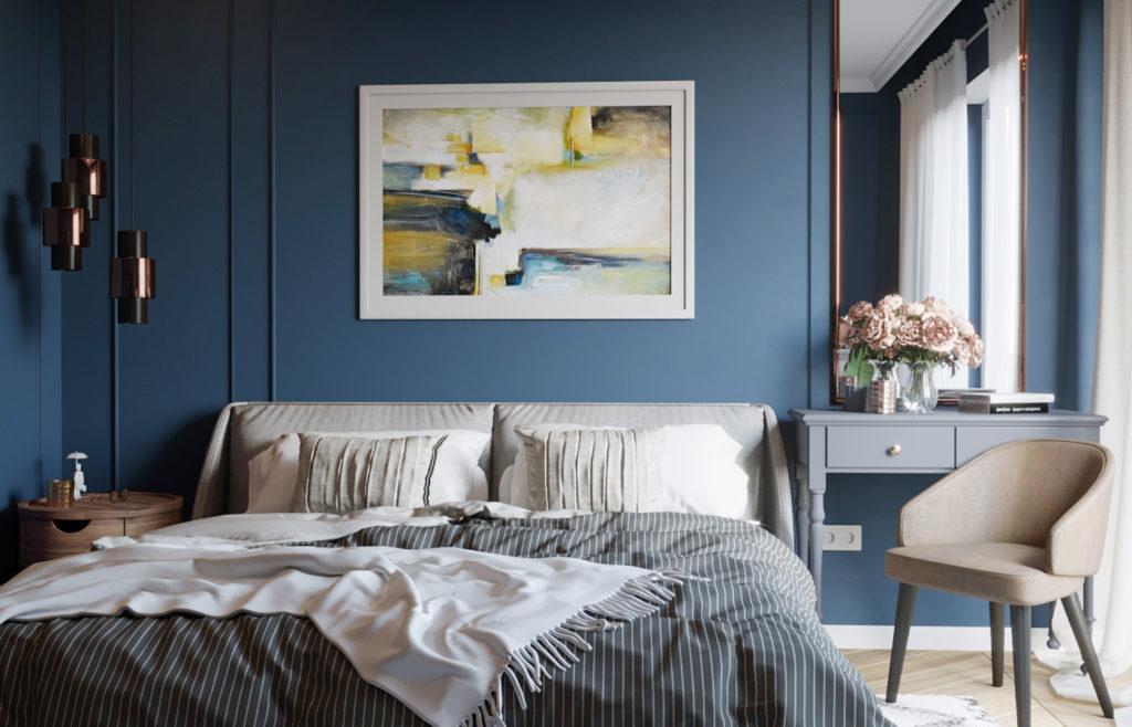 teal színű hálószoba
