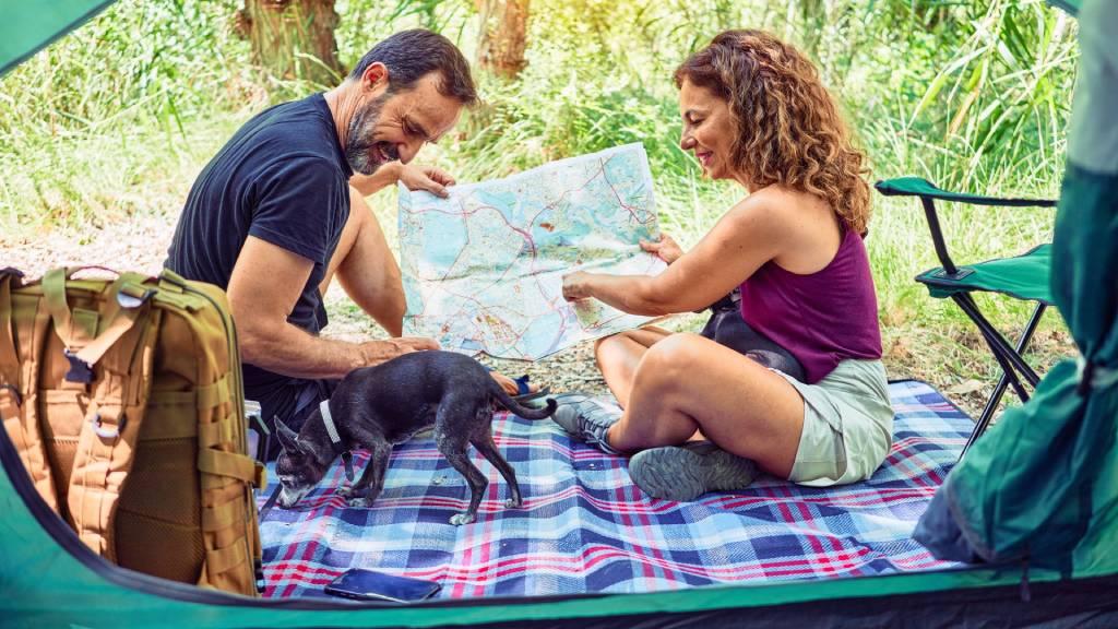 pár kutyával sátorban kirándul
