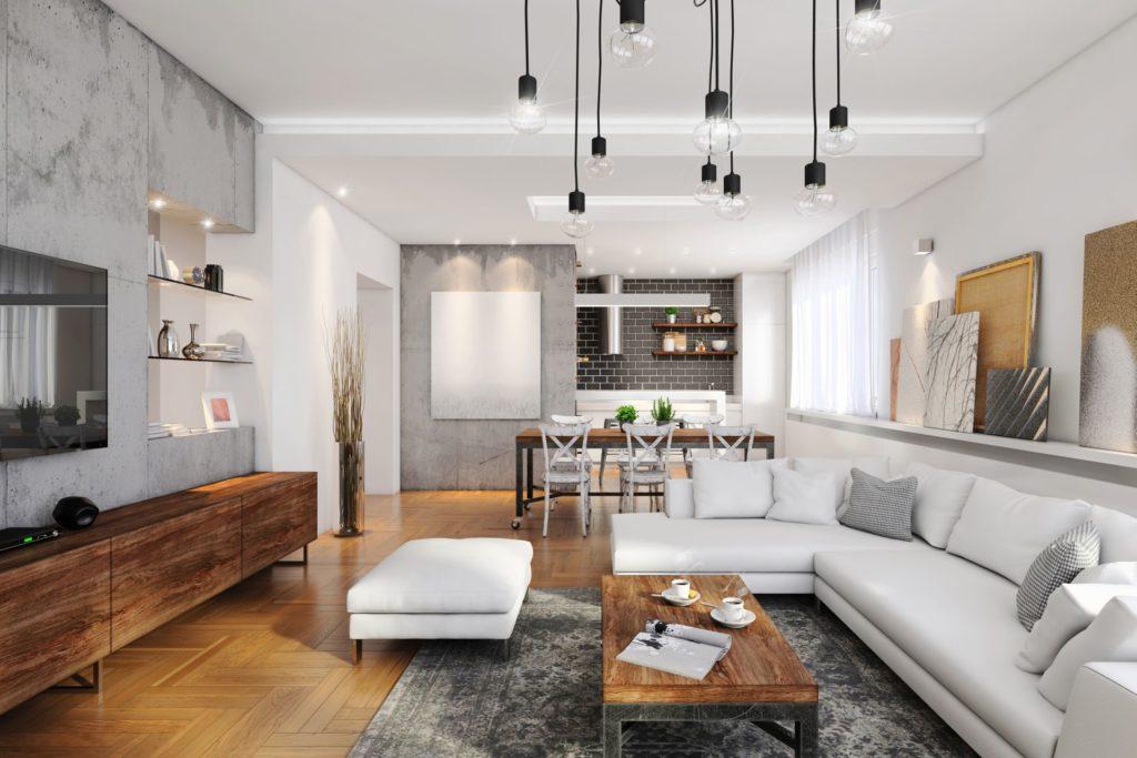 Modern lakásbelső szürke, látszóbeton elemekkel