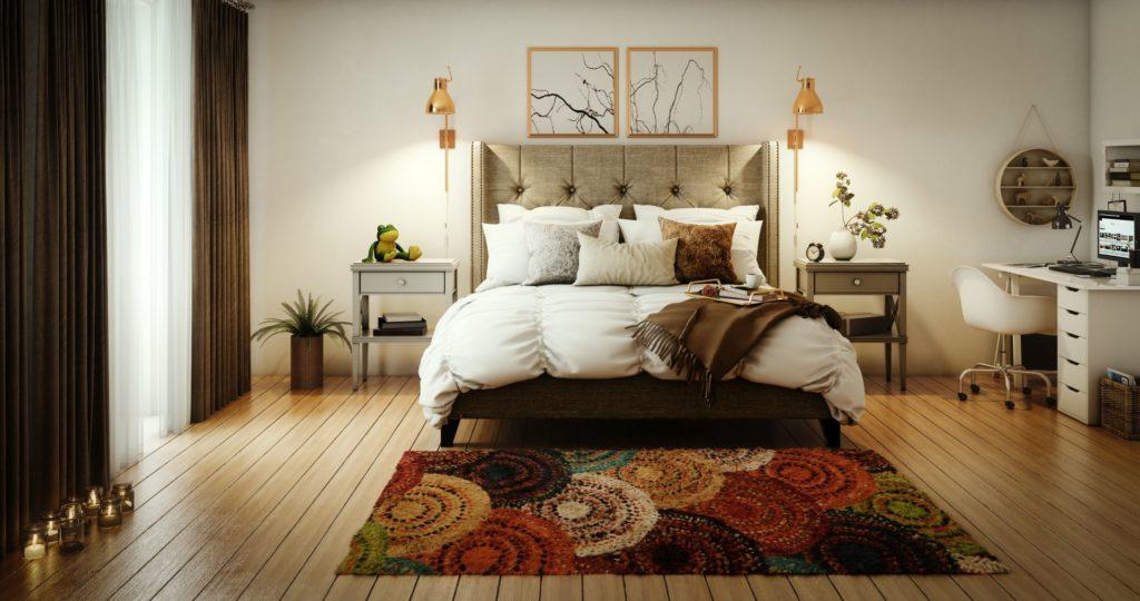 Hálószoba földszínekkel
