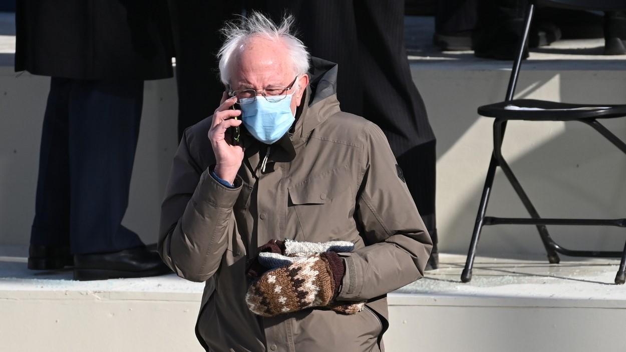 Bernie Sanders Joe Biden elnöki beiktatásán 2020. január 20-án.