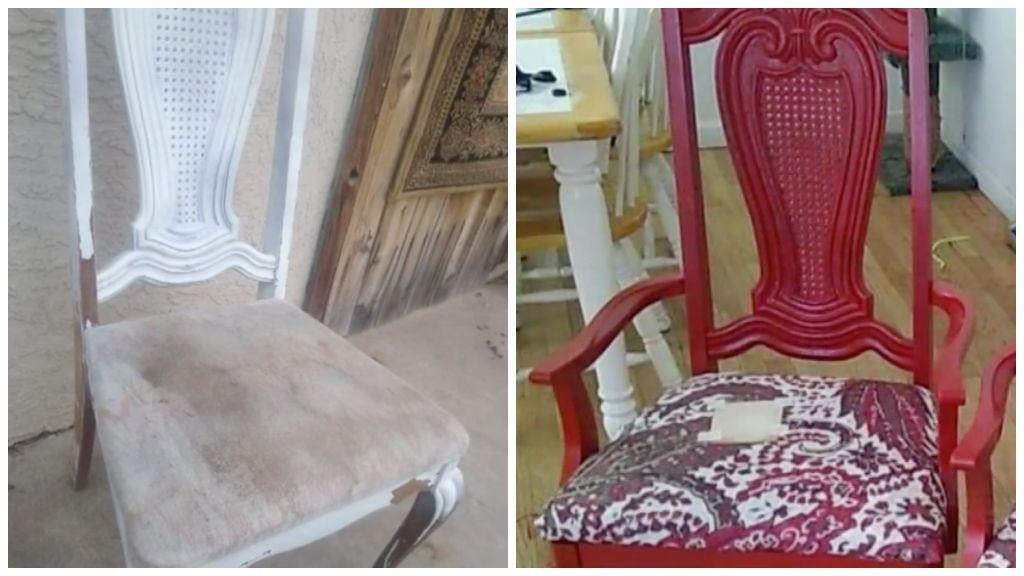 Felújított szék előtte és utána