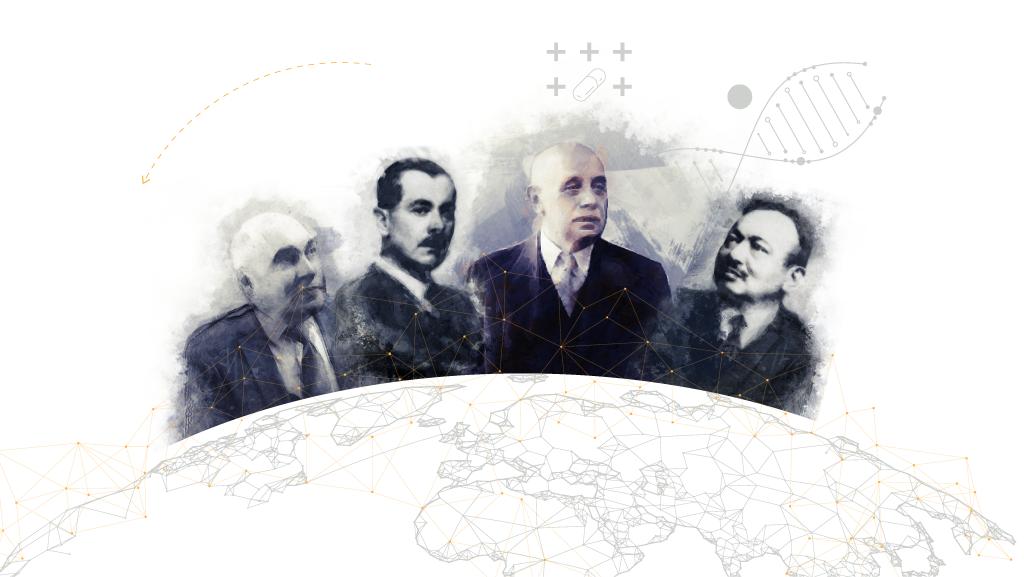 Balla Sándor (balról), Kereszty György, Richter Gedeon és Wolf Emil a magyar gyógyszergyártás ikonikus alakjai közé tartoznak