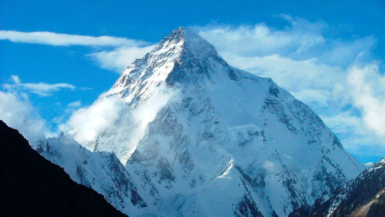Kép a világ második legmagasabb hegycsúcsáról, a K-2-rõl, amely Pakisztán és Kína határán magasodik.
