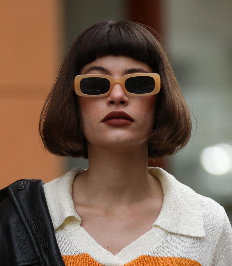 szögletes napszemüveg - street style