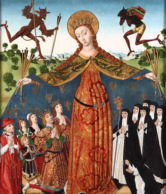 Diego de la Cruz a Könyörületes szűz c. festménye 1485-ből, Titivillus a jobb felső sarokban látható (forrás: Wikipedia)