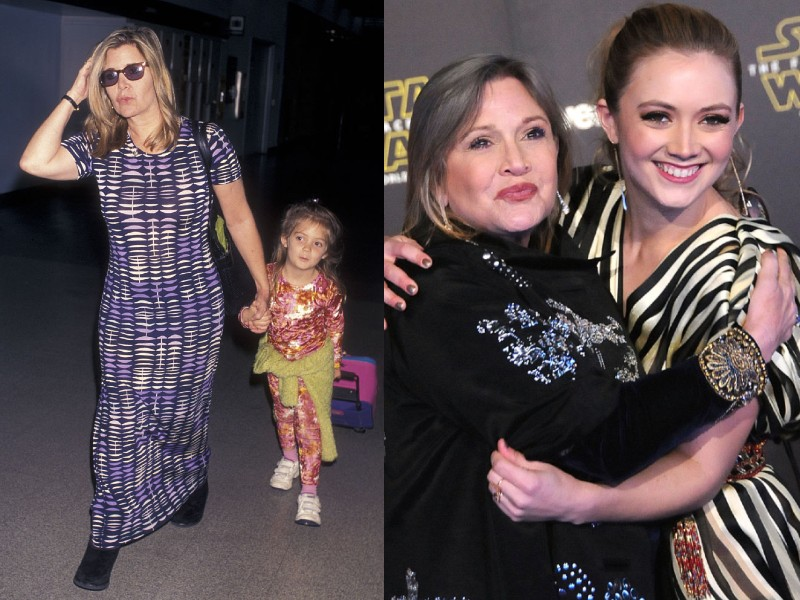 Carrie Fisher és Billie Lourd 1998-ban és 2015-ben