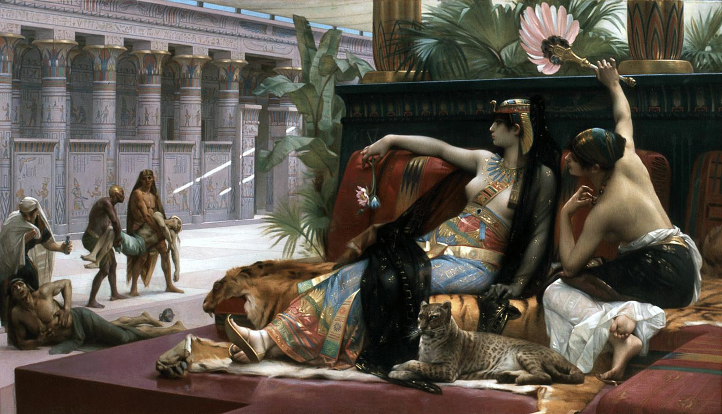 Kleopátra mérgeket próbál ki a rabszolgáin - Alexandre Cabanel festménye (forrás: Wikipedia)